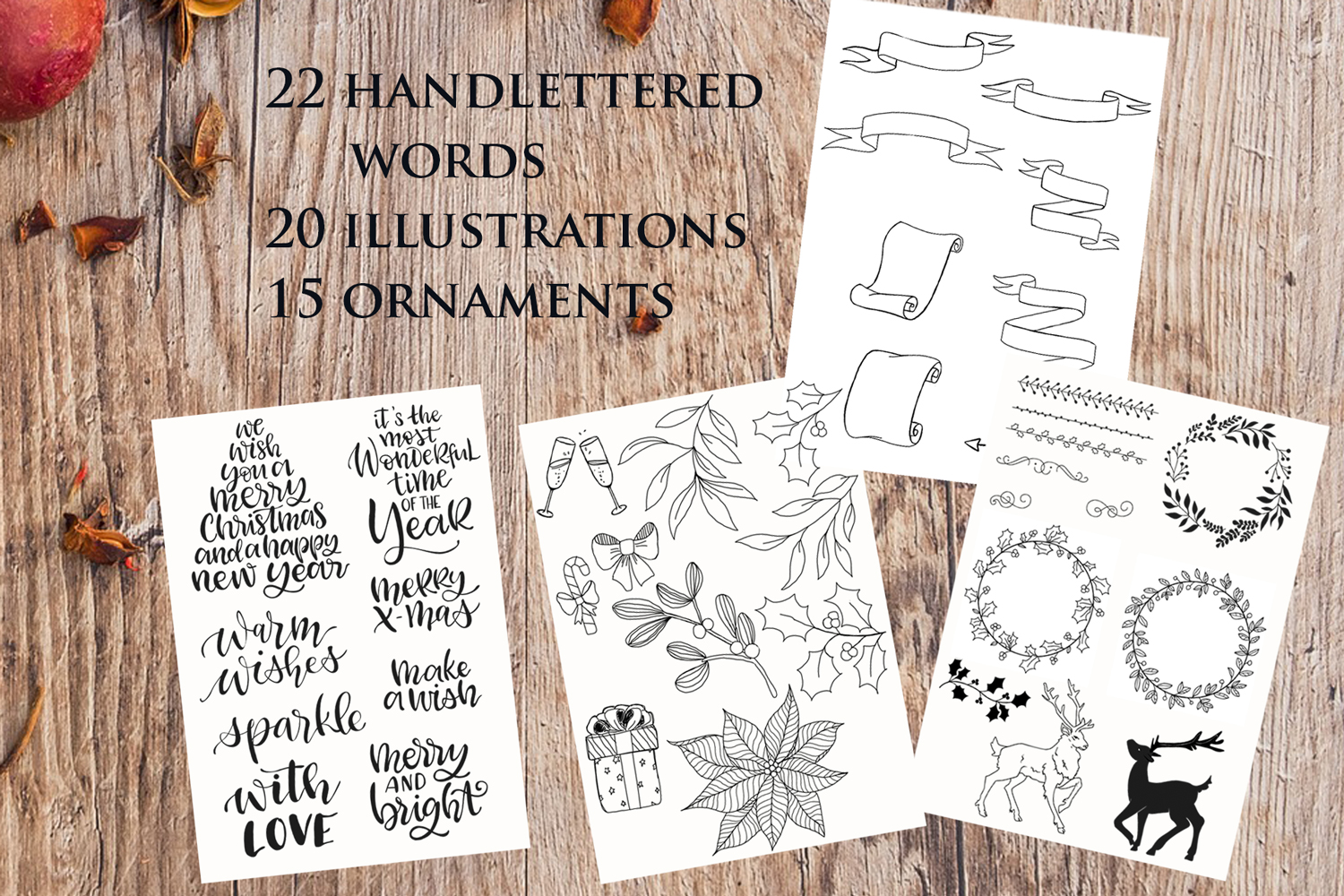 Christmas Collection - words, illustrations, ornaments example image 2