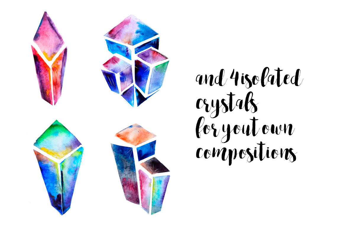 Watercolor crystals patterns example image 2