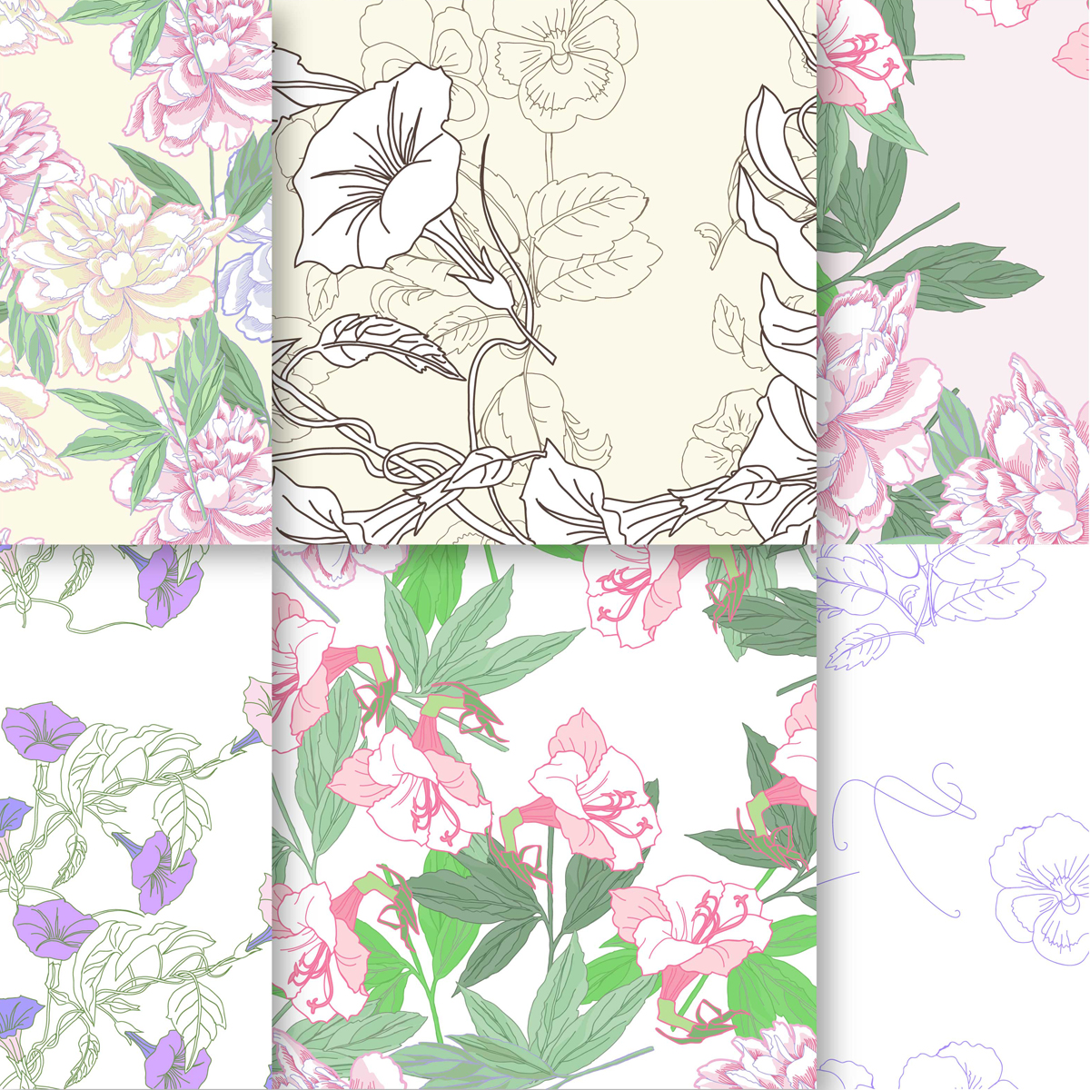 Wedding Flowers.Digital Paper example image 3