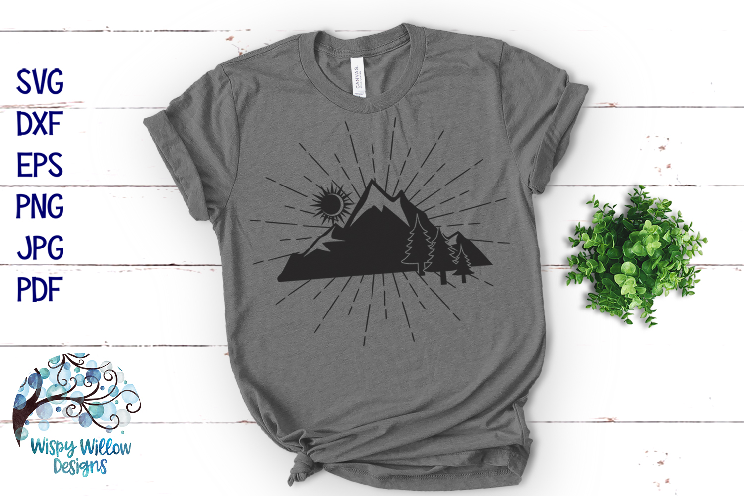 Mountain Silhouette SVG | Outdoors Camping SVG Cut File example image 2