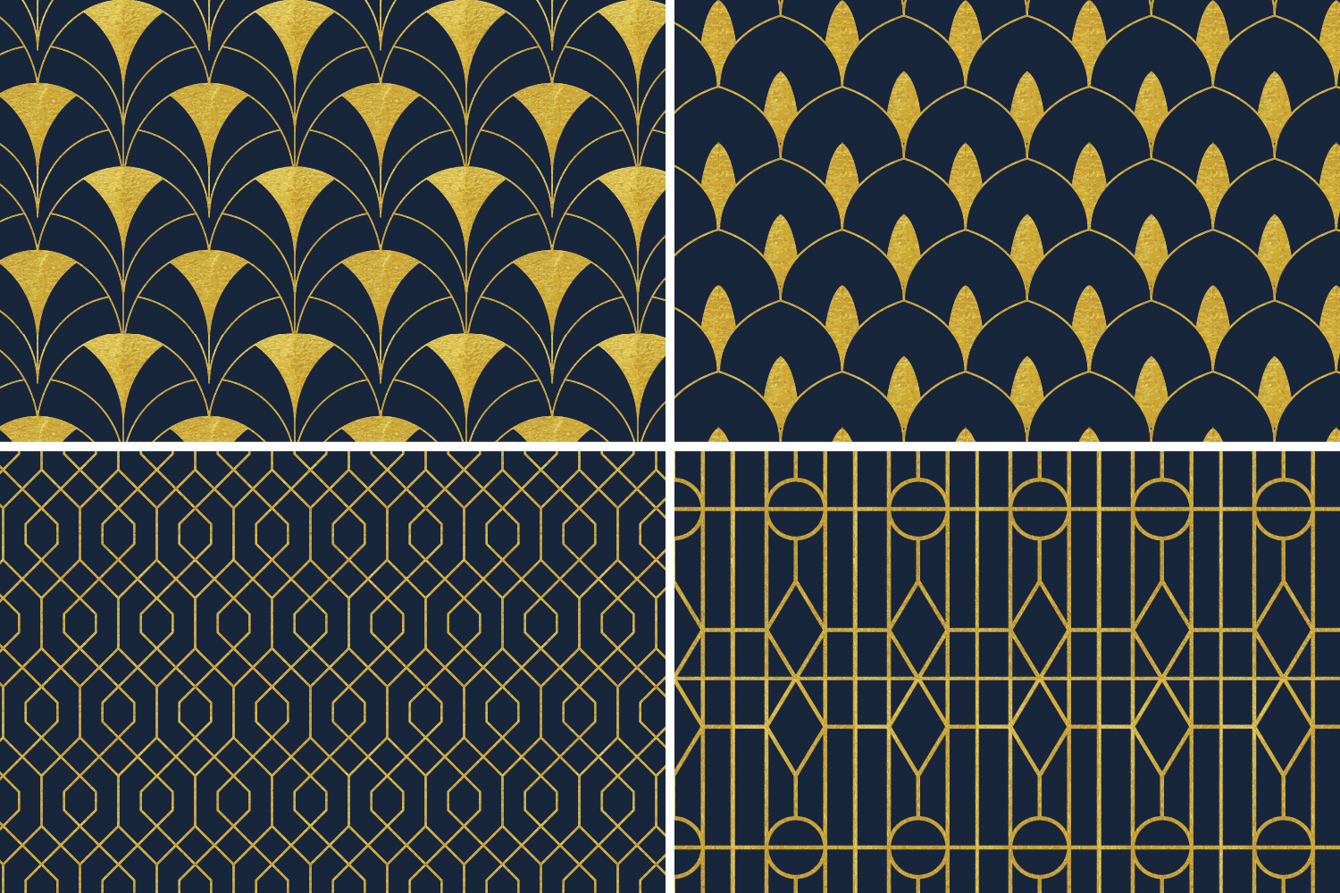 8 Seamless Art Deco Patterns - Gold & Navy Blue - Set 3 example image 6