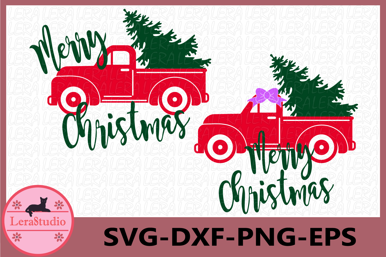 Red truck and Christmas Tree SVG, Merry Christmas, Truck Svg example image 1