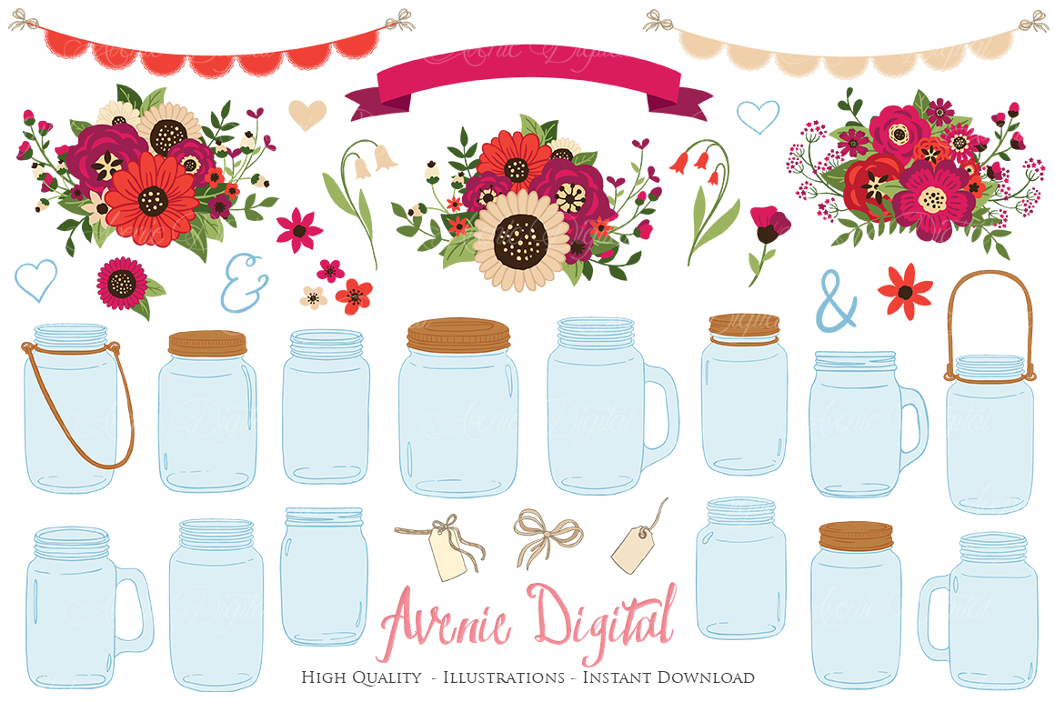 Red Christmas Floral Mason Jar Wedding Clipart example image 1