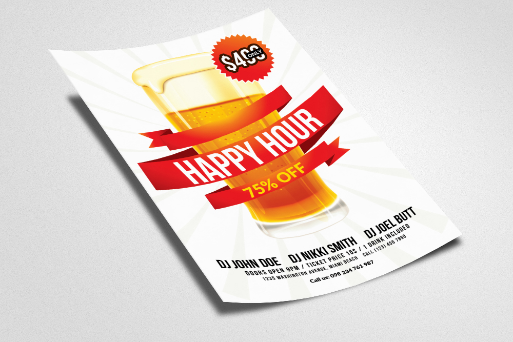 Happy Hour Flyer Template 03 example image 2