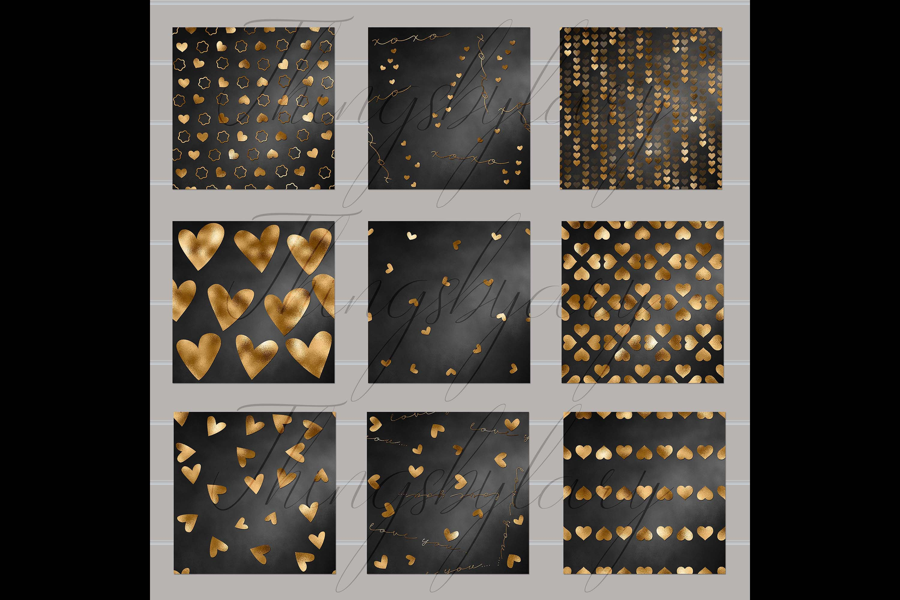30 Black and Gold Valentine Love Heart Digital Papers Card example image 5