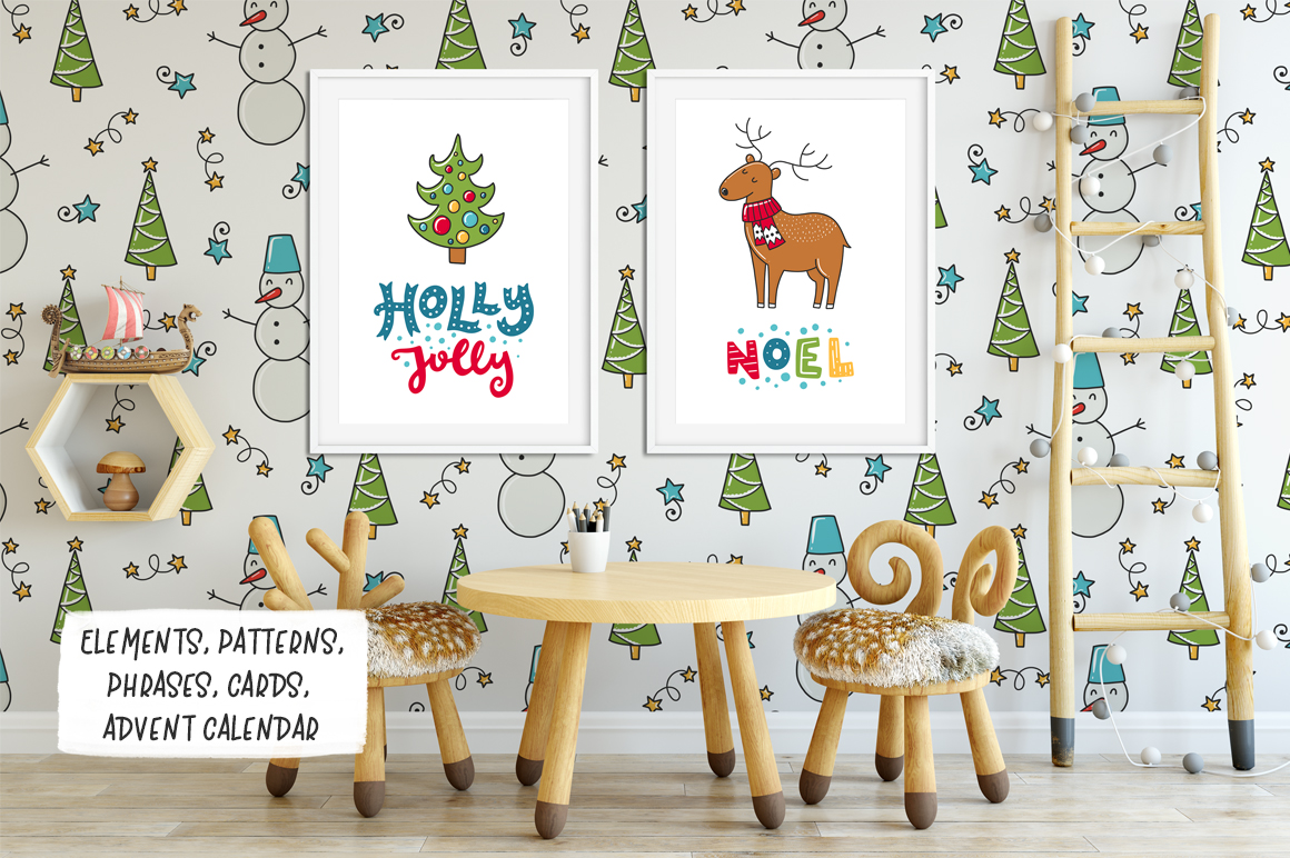 610+ Christmas Doodles - Clipart Set example image 3