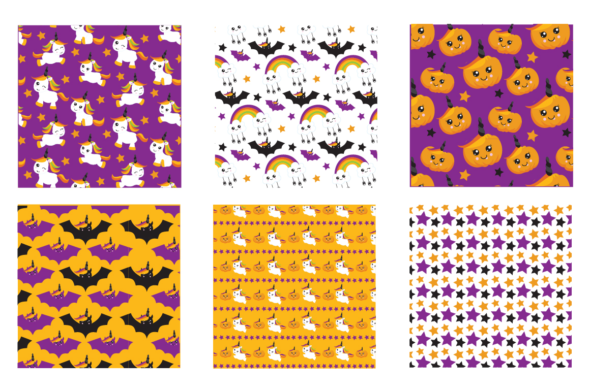 Halloween Unicorns Pattern collection, vector ai, eps example image 3