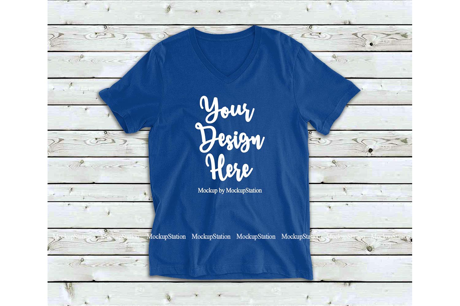 Royal Blue Shirt Mock Up, Bella Canvas 3005 V-Neck Tshirt example image 1