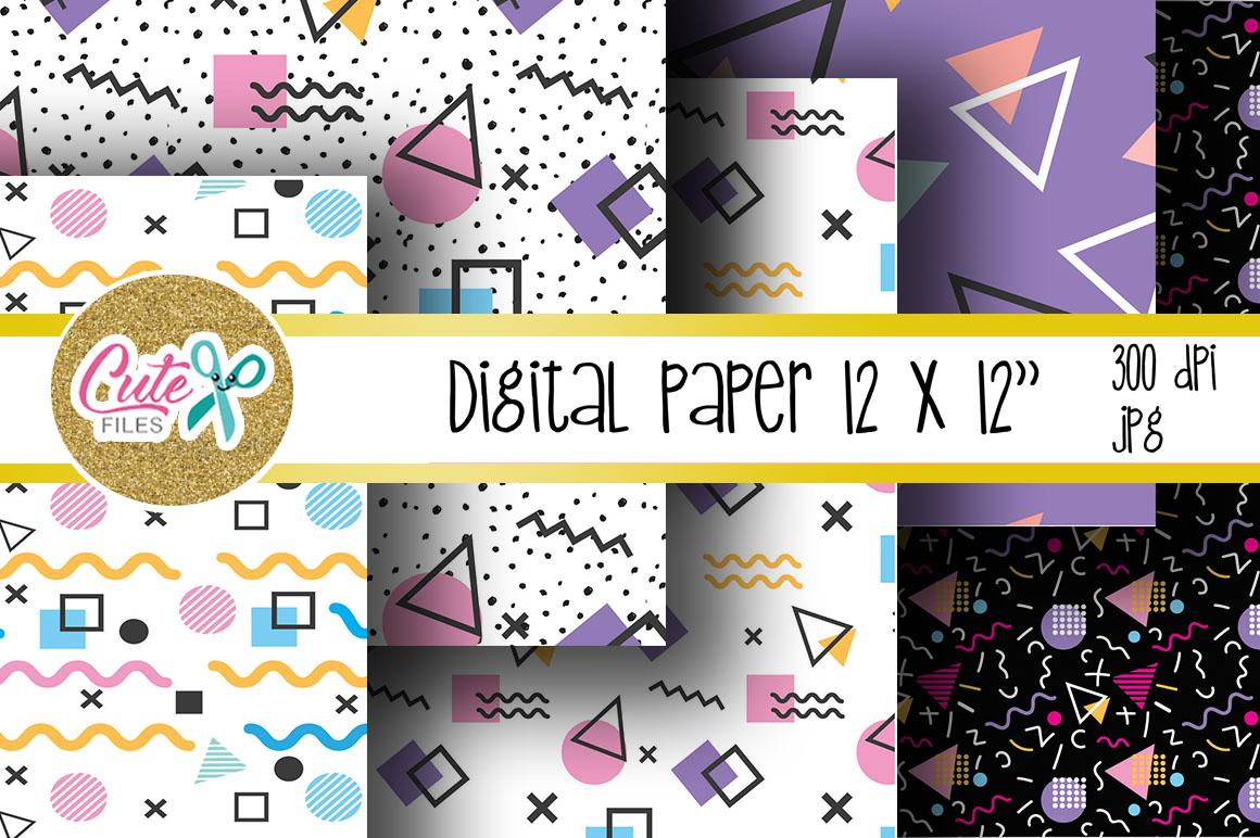 Retro Digital Paper, colorful digital paper example image 2