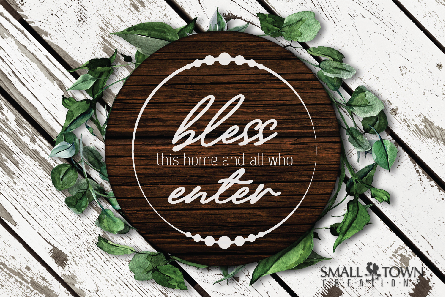 Home, Welcome, Blessed, Wreath, PRINT, CUT & DESIGN example image 6