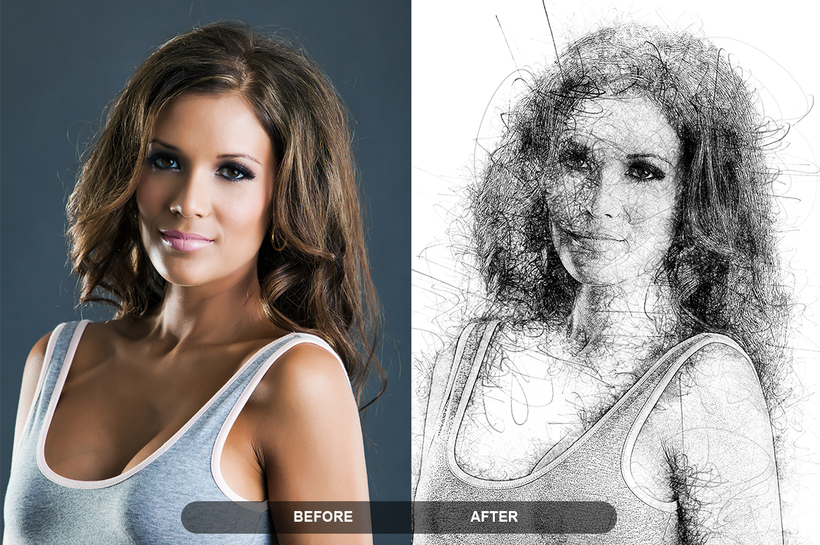 Pen Sketch Photoshop Action example image 6
