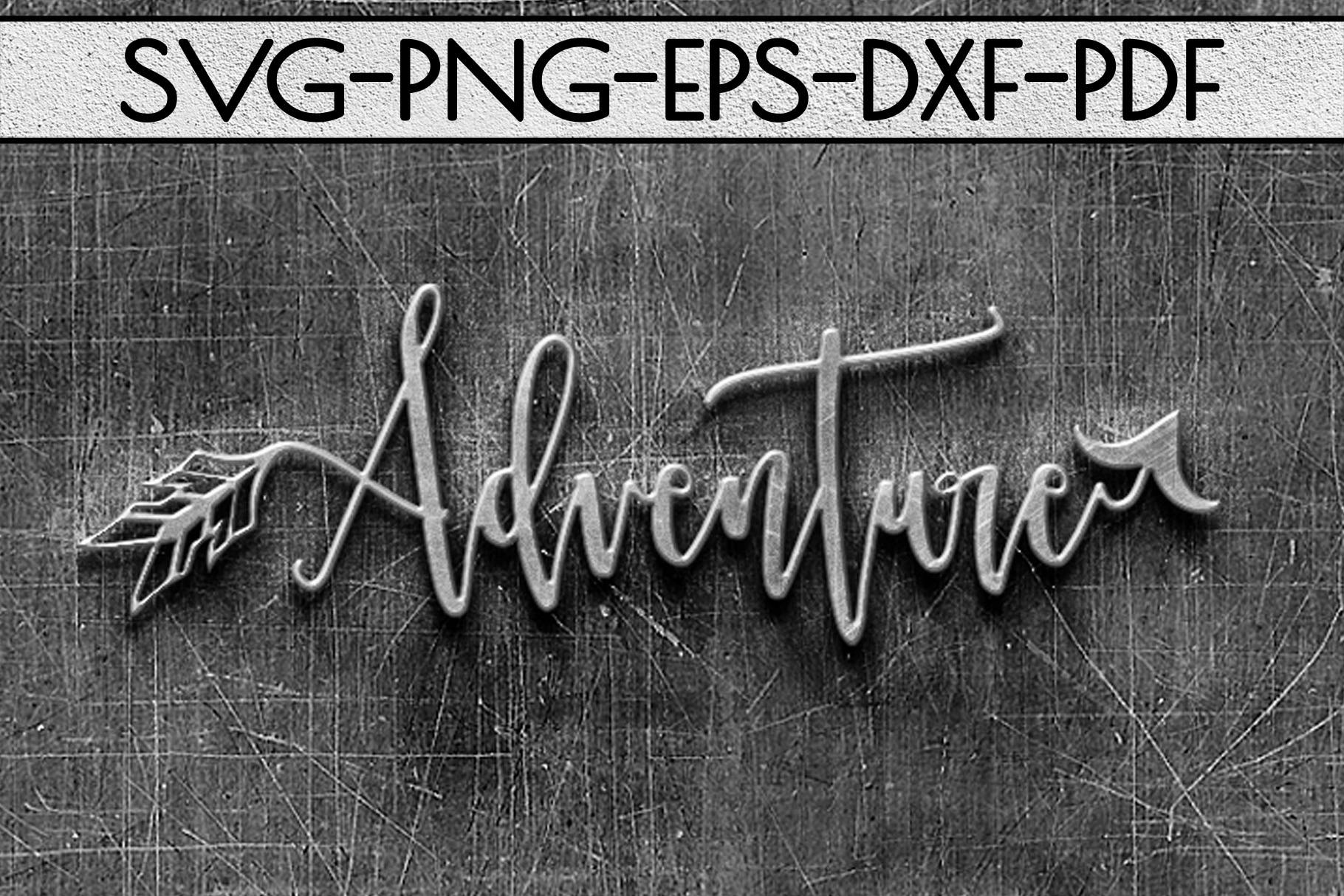 Adventure Sign Papercut Template, Summer Camper SVG, PDF DXF example image 2