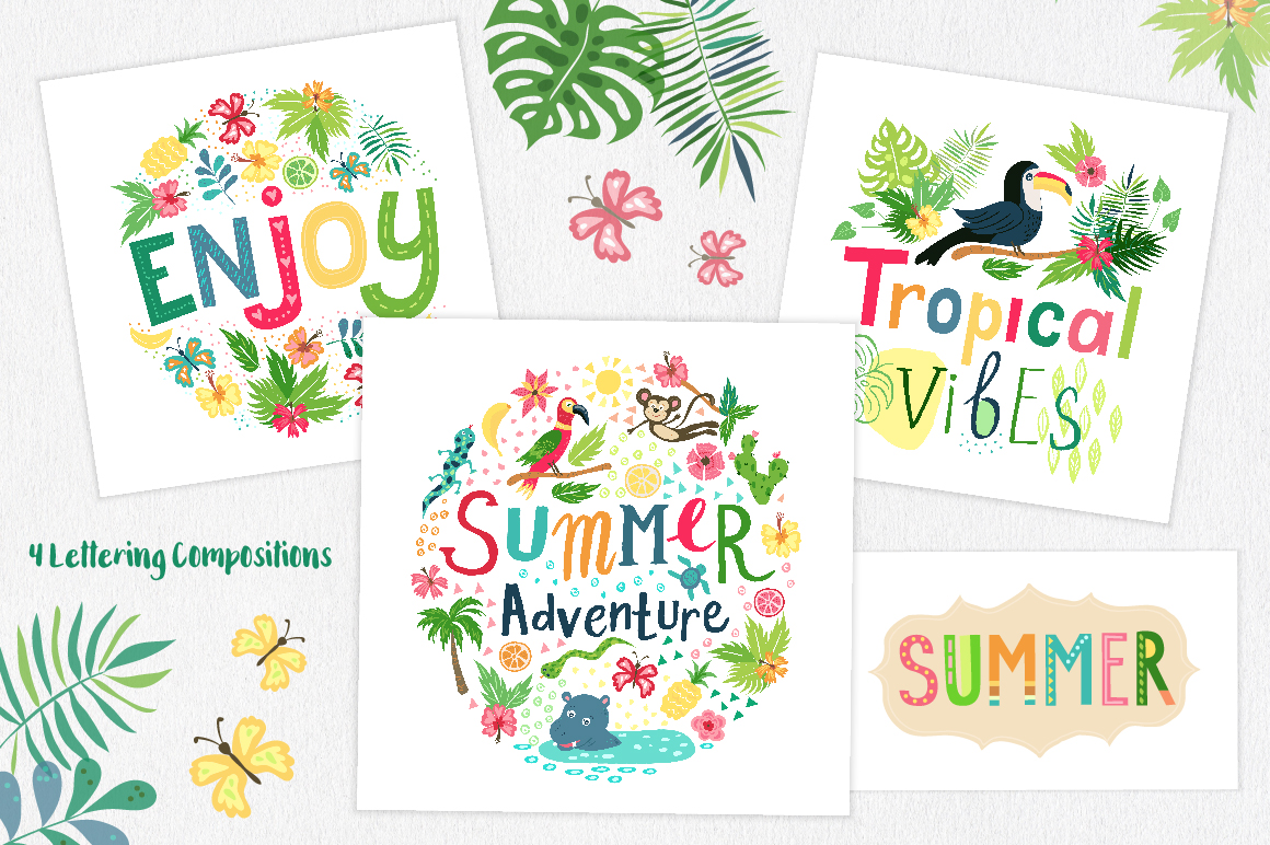 Summer Tropical Cute Vector Pack example image 6