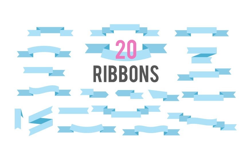 Flat Ribbons Vector Banners Isolated On White Background example image 1