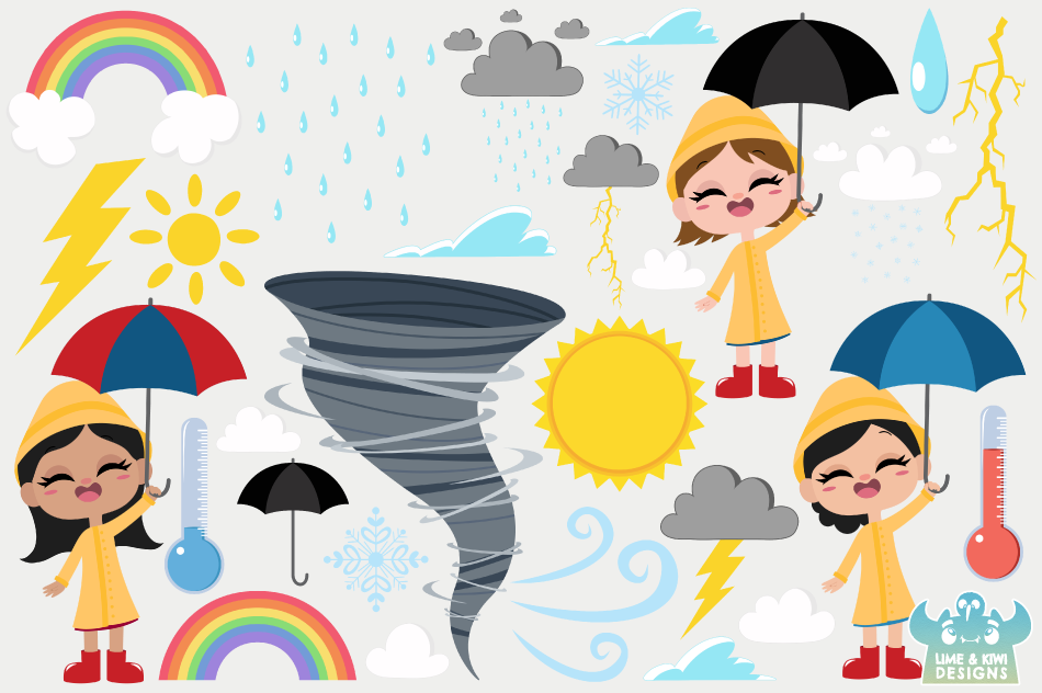 Weather Clipart, Instant Download Vector Art, Commercial Use example image 2