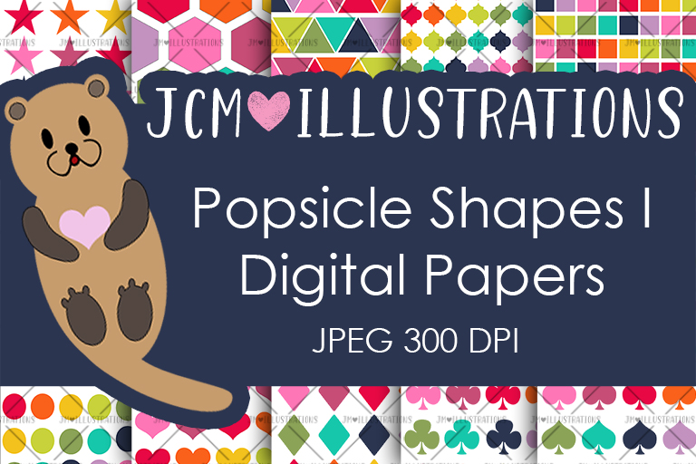 Popsicle Shapes I - Digital Papers - Digital Scrapbooking example image 1
