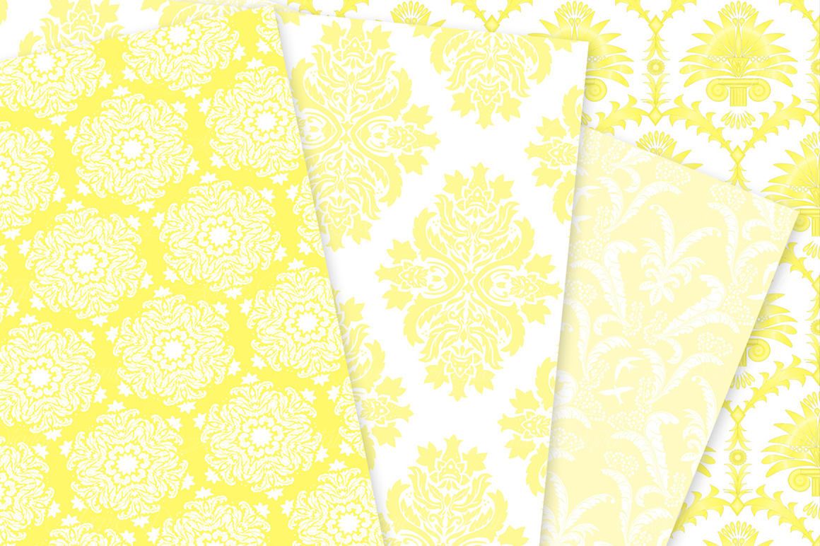 28 Yellow Damask Patterns - Seamless Digital Papers Bundle example image 8