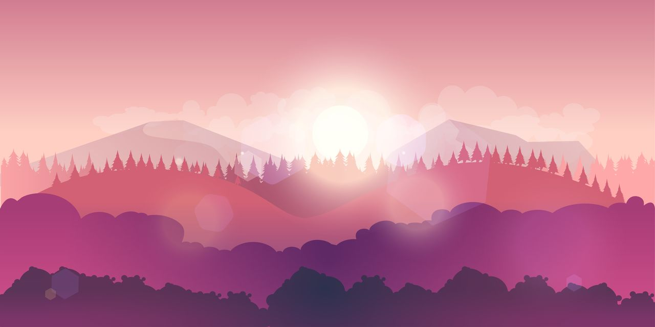 Mountains and Forest Vector Landscape example image 2