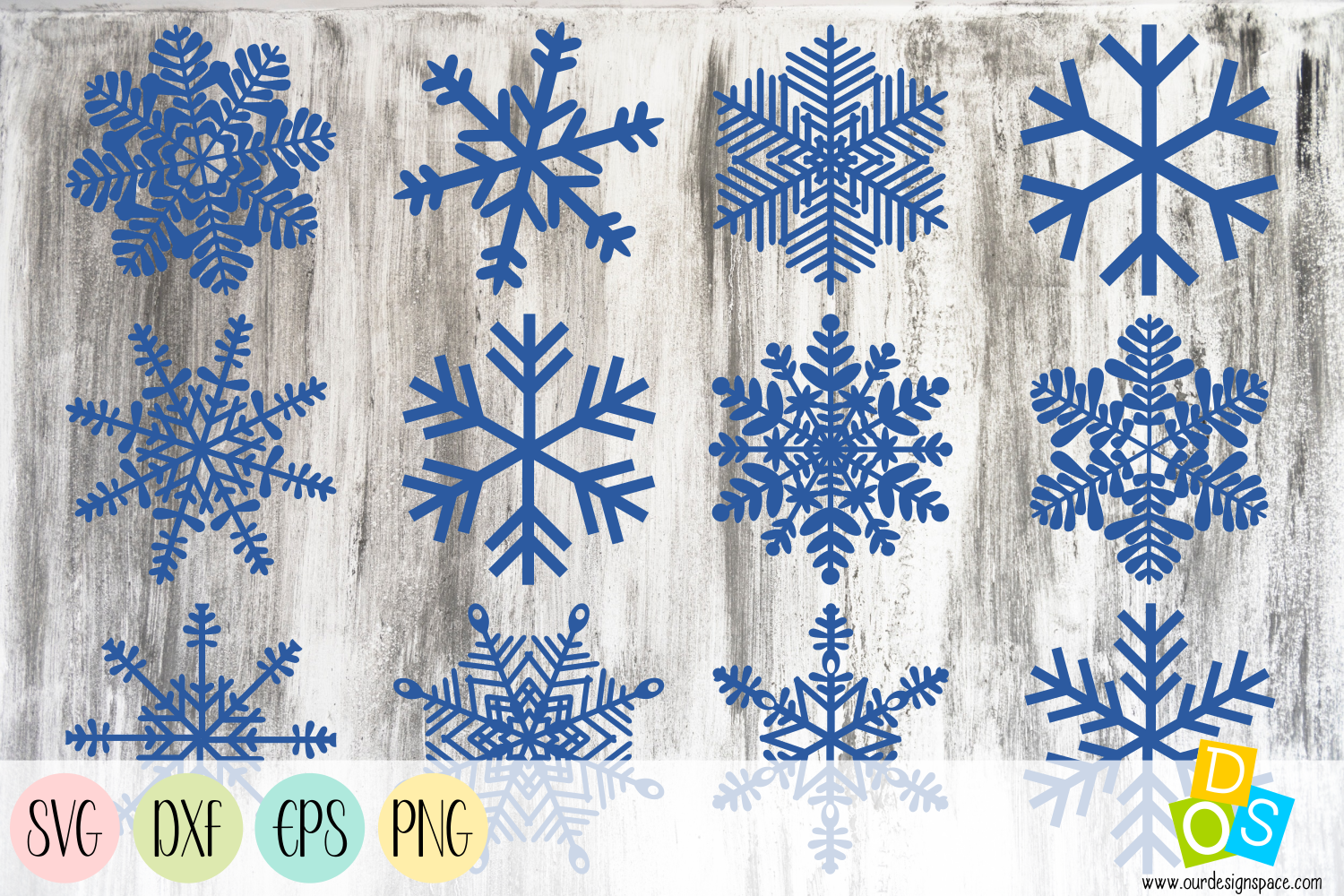 Snowflakes SVG, DXF, EPS and PNG files example image 1