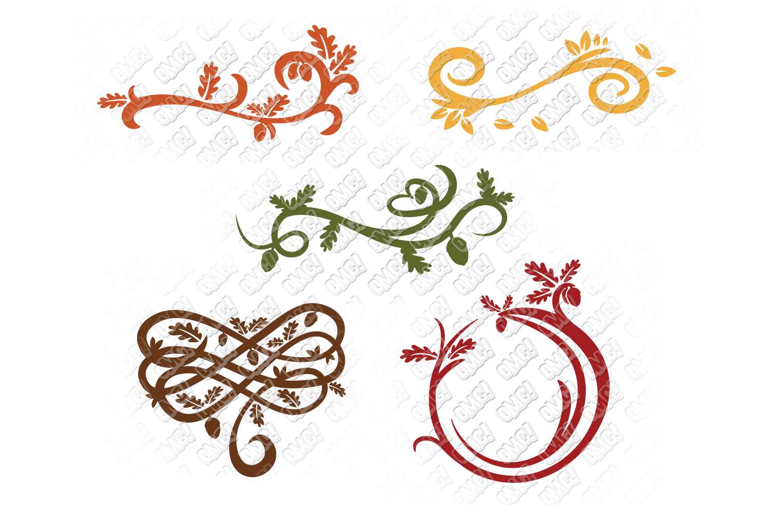 Fall Flourish SVG Monogram Border in SVG, DXF, PNG, EPS, JPG example image 2