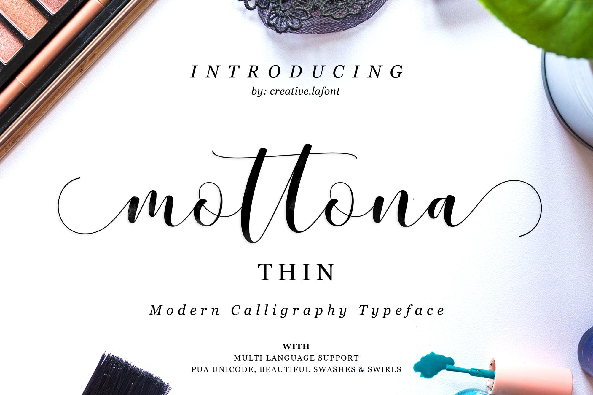 Mottona Thin Script example image 1