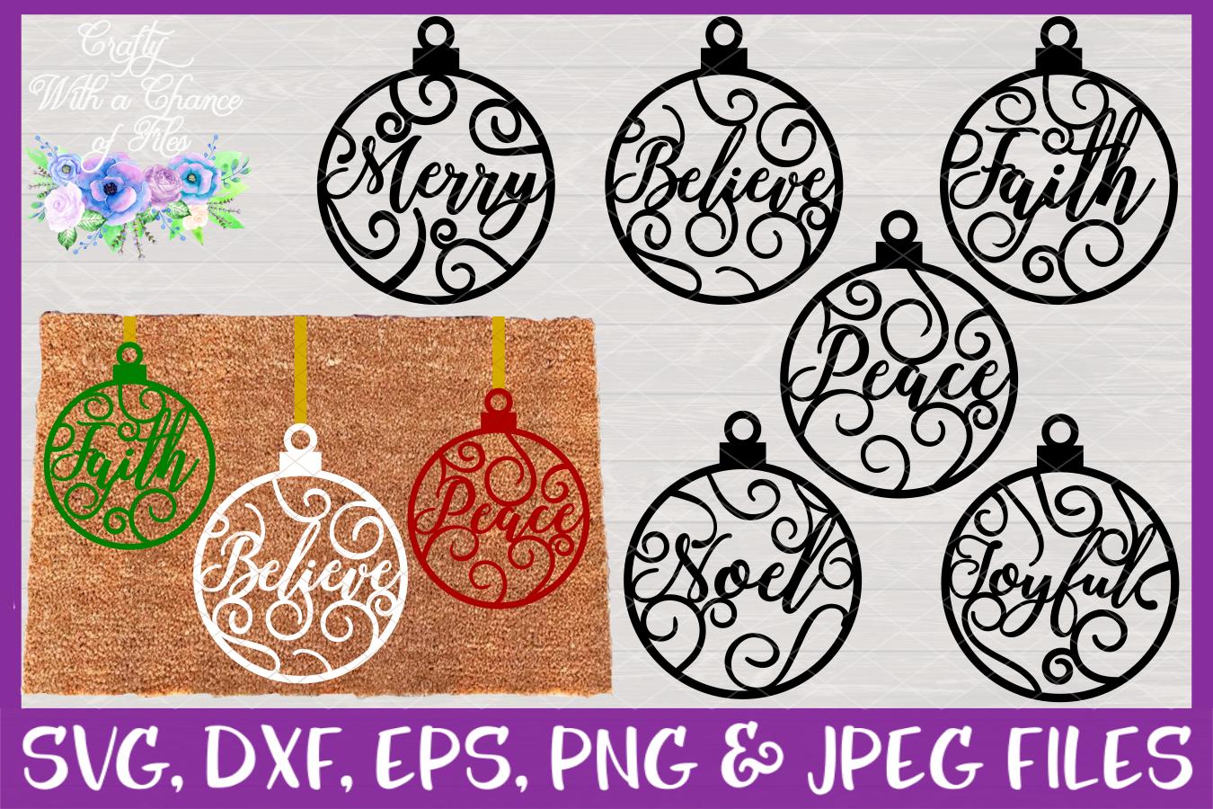 Christmas Word Ornaments SVG Christmas Flourish Baubles example image 1