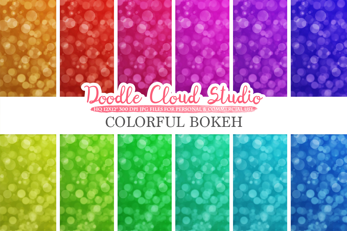 Bokeh digital paper, Colorful Bokeh Overlay, Rainbow Bokeh backgrounds, Instant Download, for Personal & Commercial Use example image 2