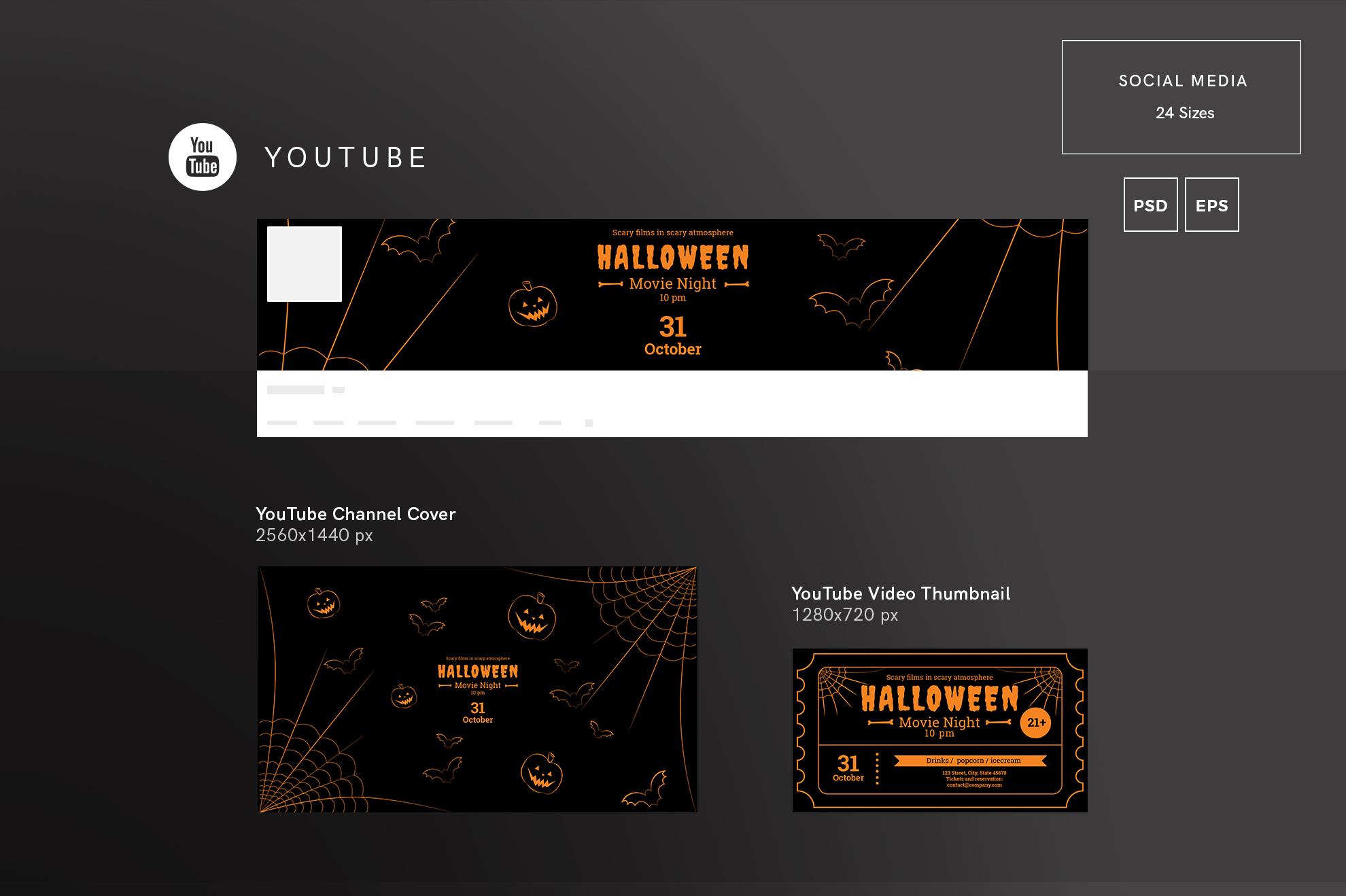 Halloween Movie Night Design Templates Bundle example image 7