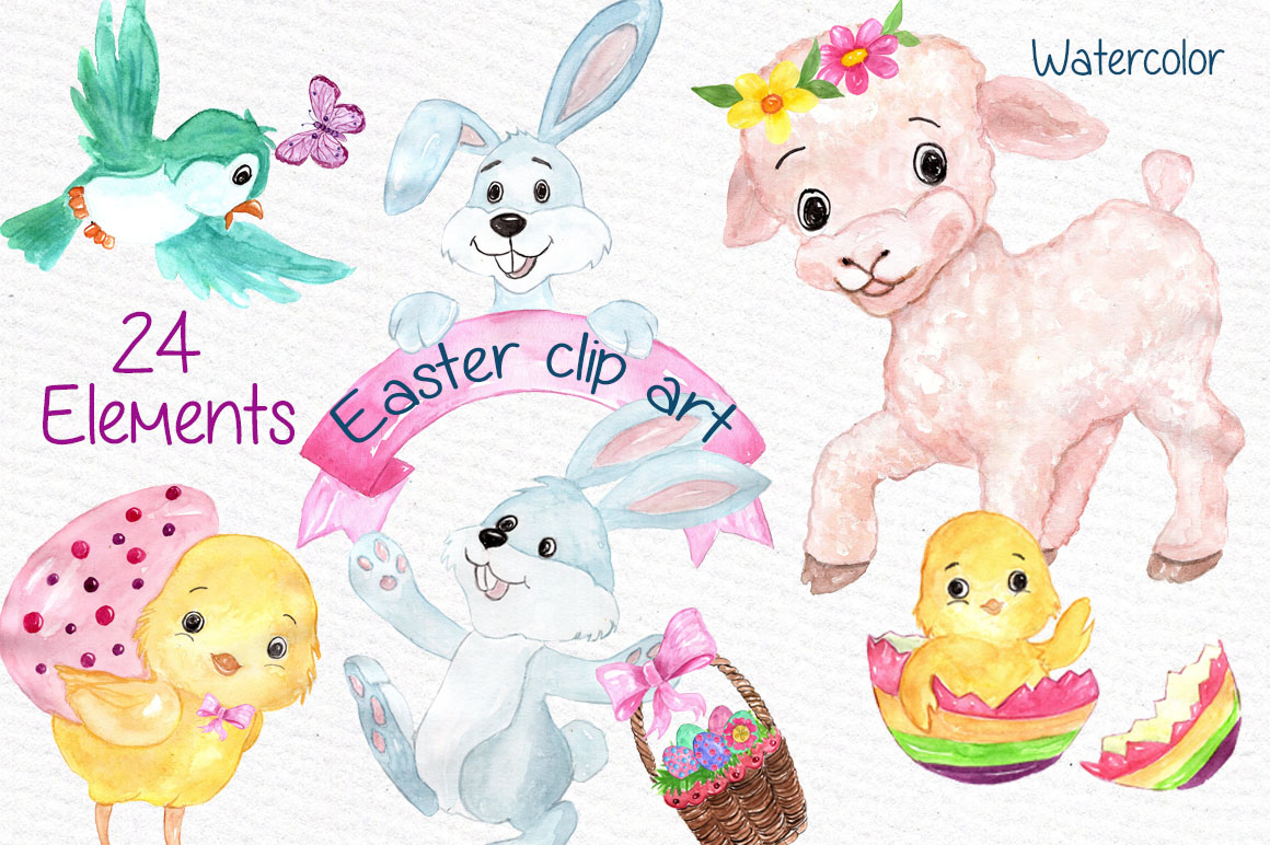 Watercolor Easter kids clipart example image 1