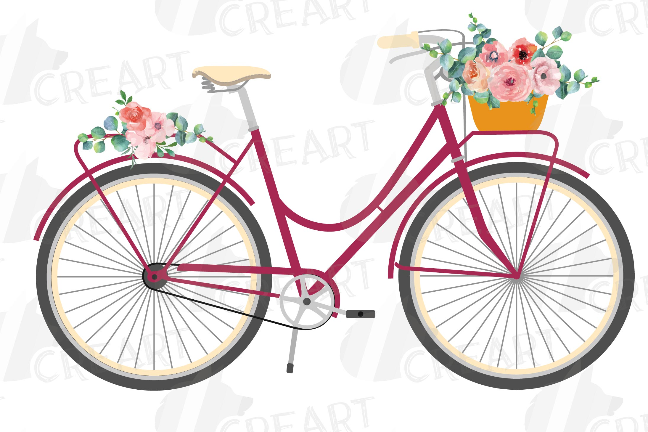 Floral bicycles clip art pack, blush floral and eucalyptus example image 6