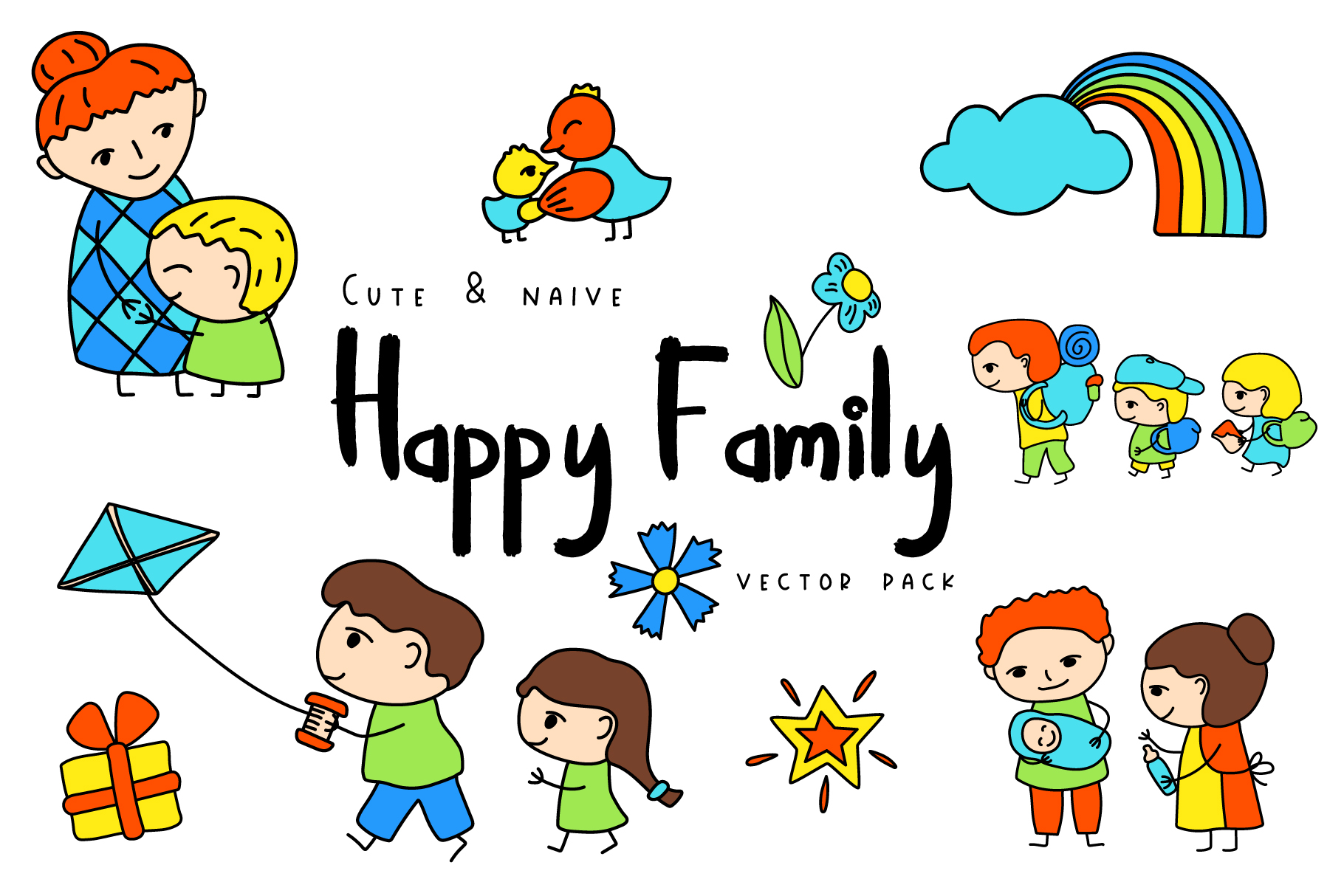 Happy Family Simple Vector Clipart and Patterns example image 1
