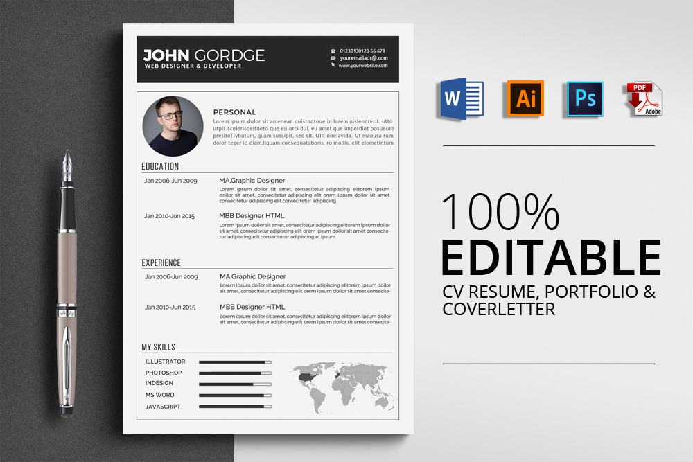 Resume Cv Office Template example image 1