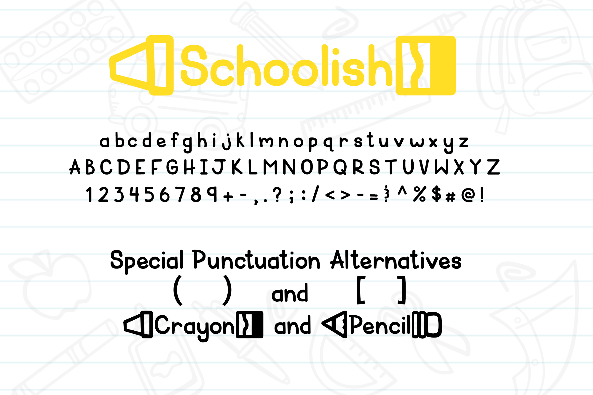 Schoolish| A Cute Back to School Font| With Doodles! example image 2