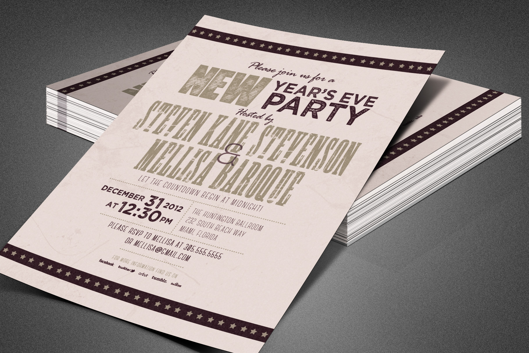 Retro New Year Party Invite Card Template example image 8