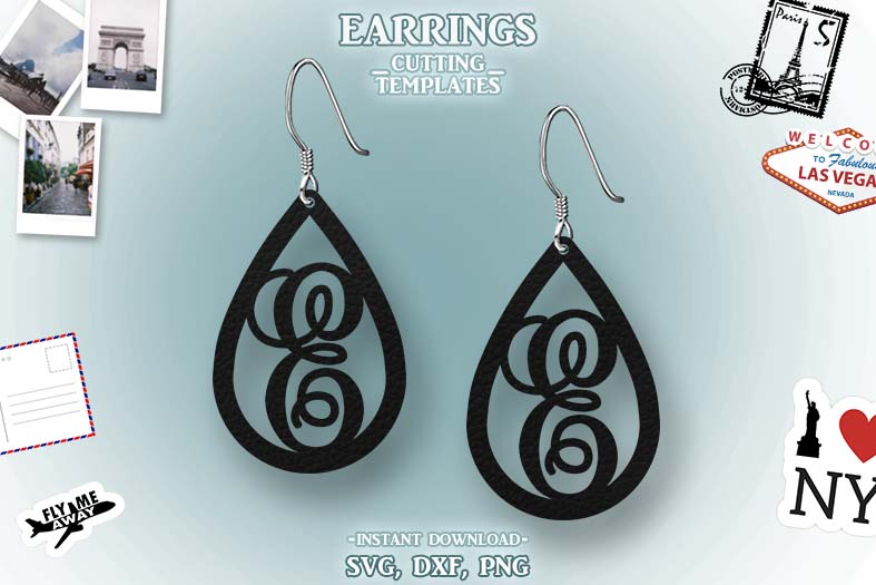 Letter E, Teardrop Monogram Earrings, SVG, Cut File, Cricut example image 1