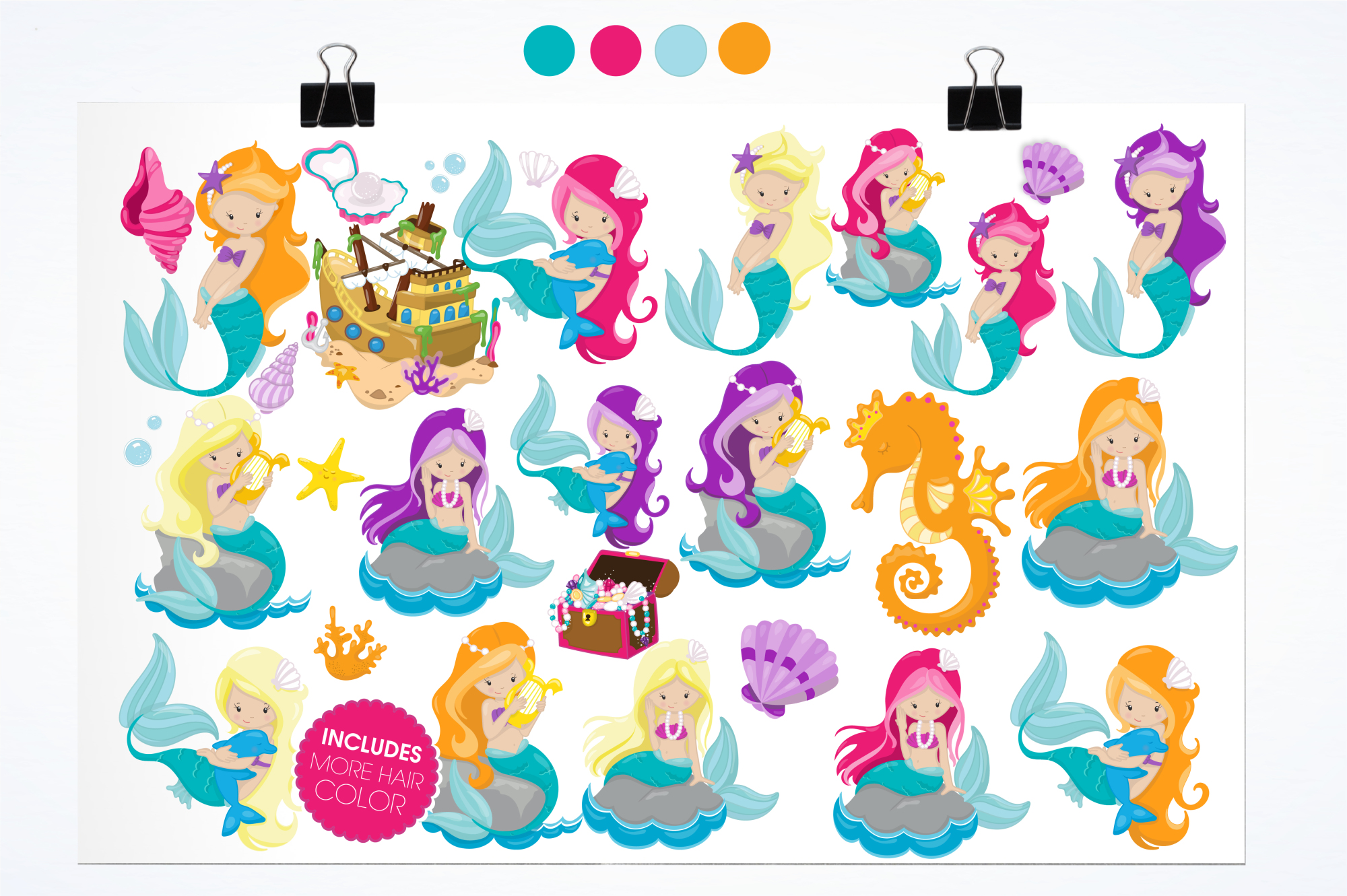 Mermaids graphics and illustrations example image 2