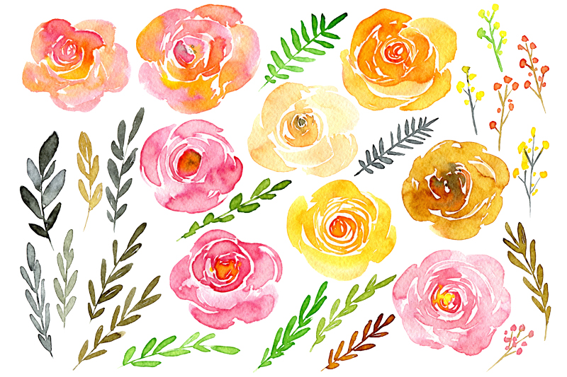 Yellow & pink watercolor flowers example image 2