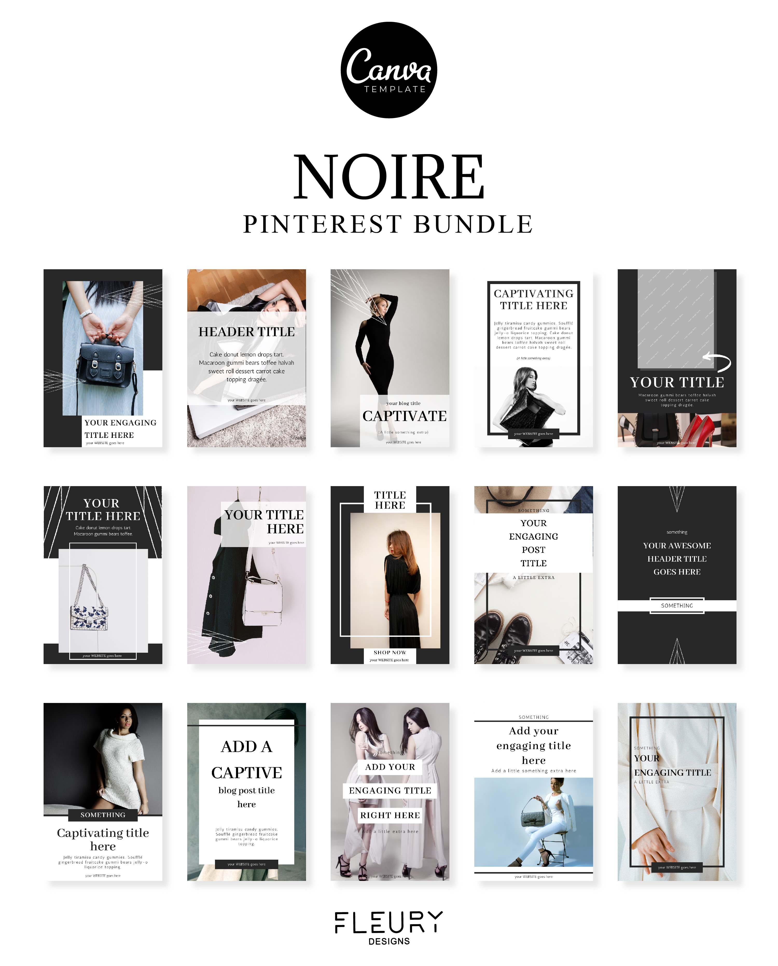 Pinterest Bundle Canva Template - Noire example image 4