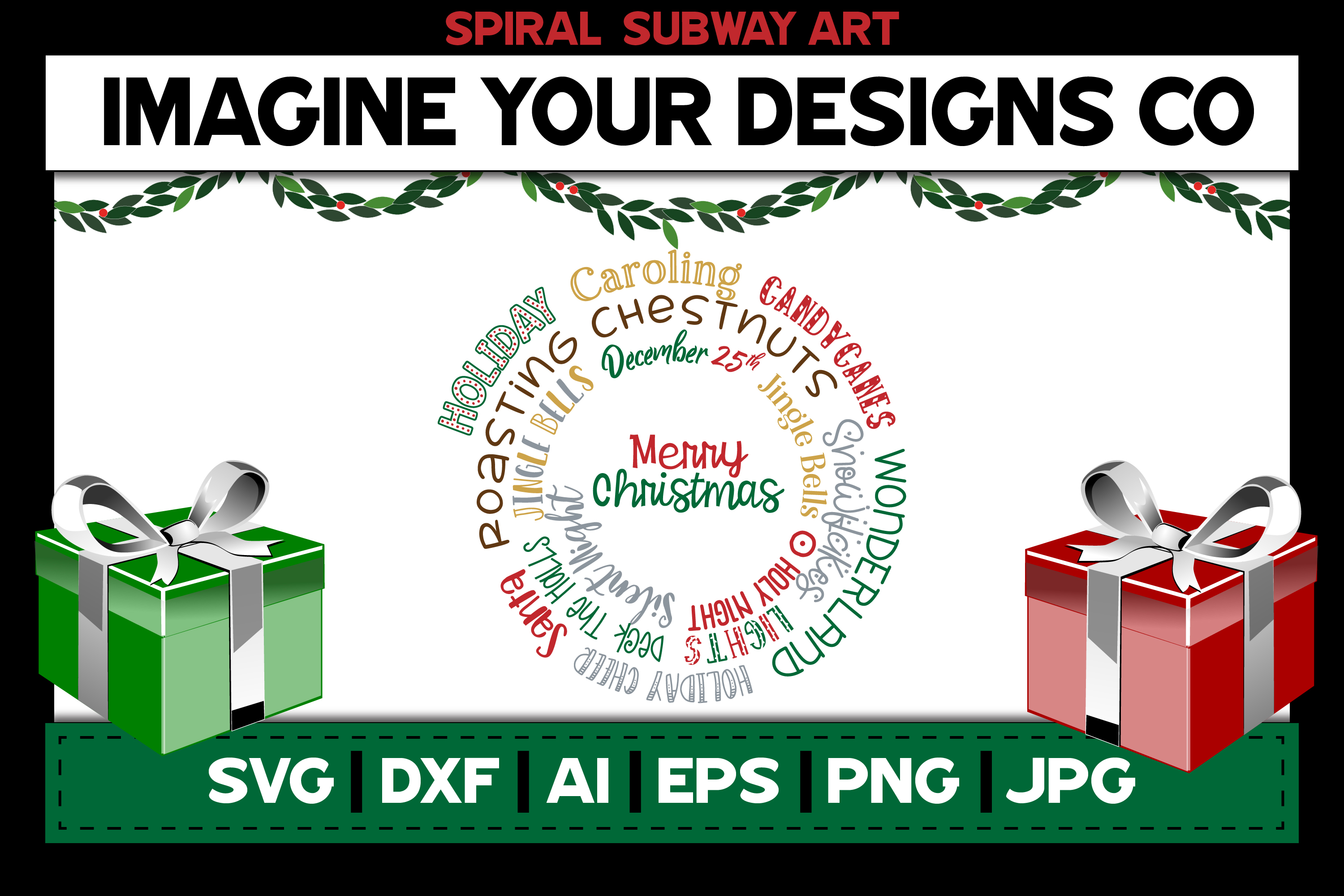 Merry Christmas Spiral Subway Art, SVG Cut File Sublimation example image 1