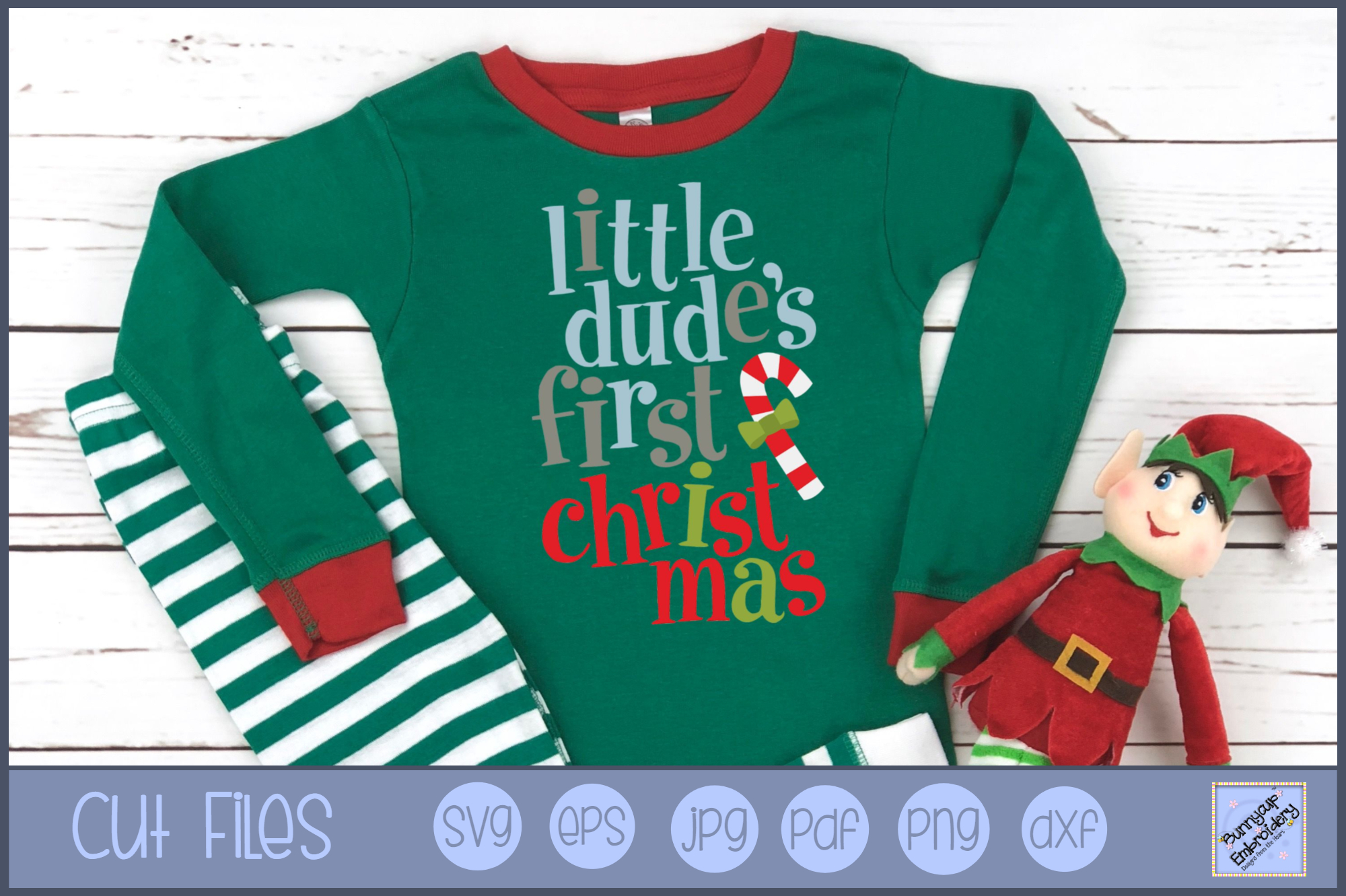 Little Dude's First Christmas - SVG, Clipart, Printable example image 1