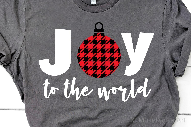 Joy to the World Svg, Christmas Svg, Buffalo Plaid Svg, Joy example image 1