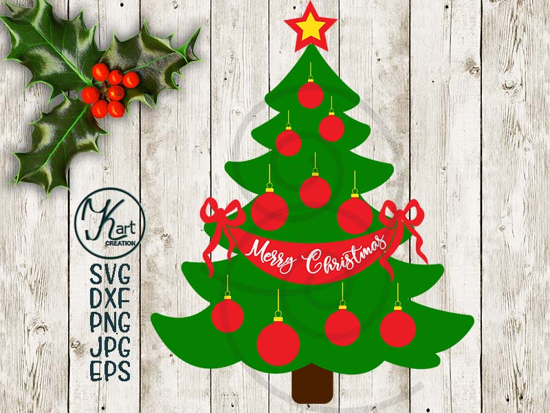 Christmas Family tree svg, Merry Christmas file for cut dxf example image 2