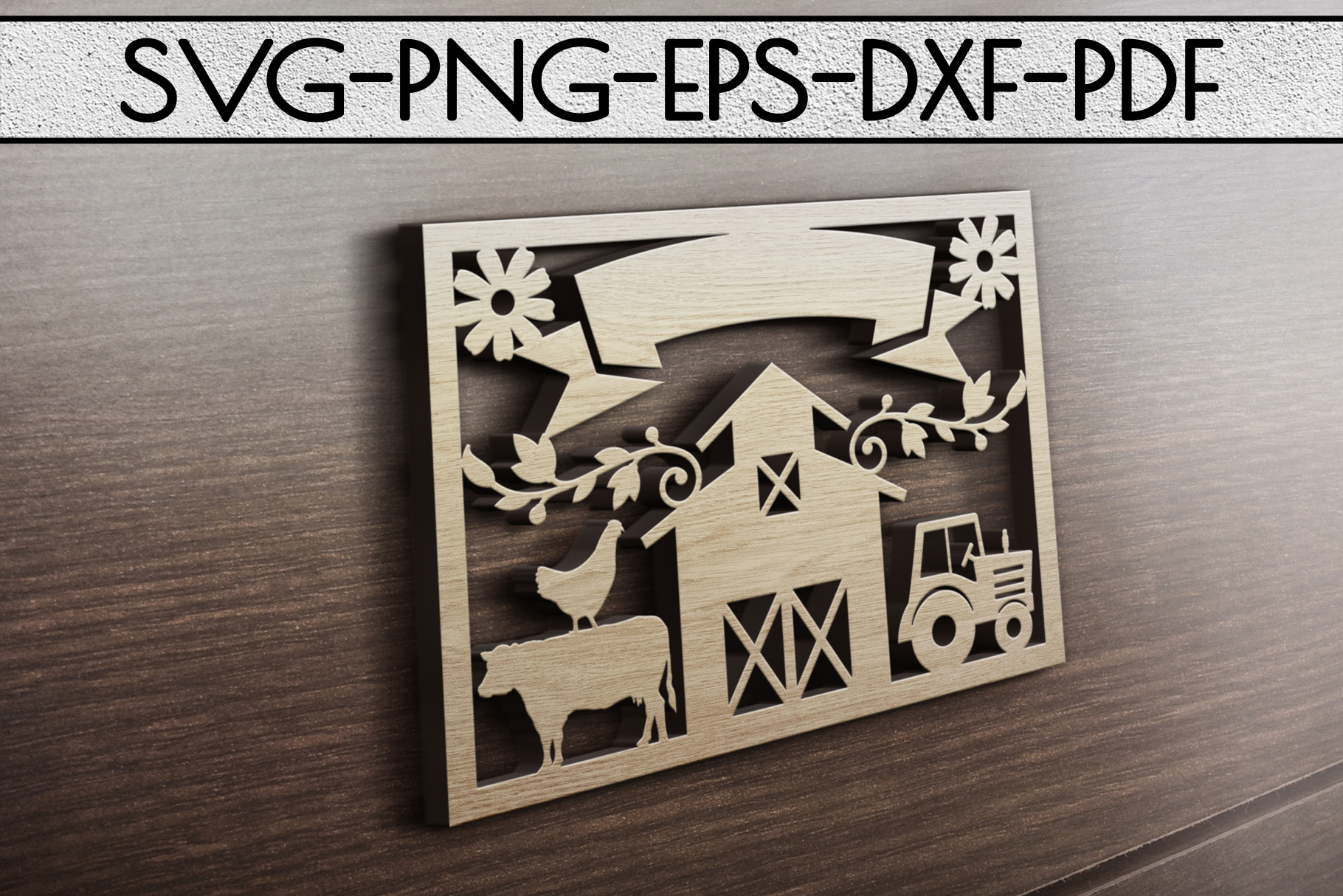 Customizable Farm Papercut Template, Farmhouse Themed, PDF example image 3