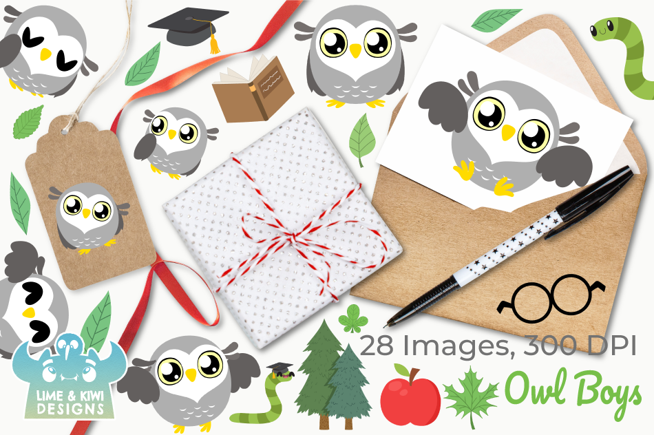 Owl Boys Clipart, Instant Download Vector Art example image 4
