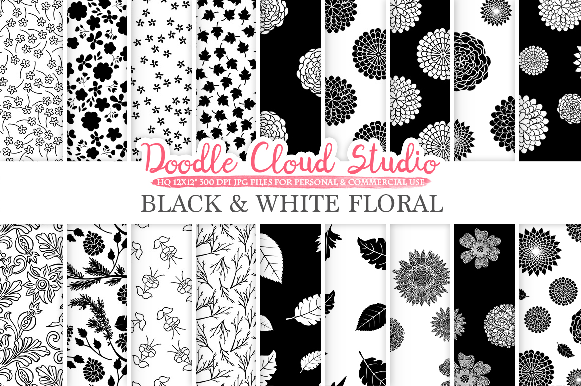 Black and White Floral digital paper, Floral pattern Flowers Dhalia Leaves Damask Calico background for Personal & Commercial Use example image 1