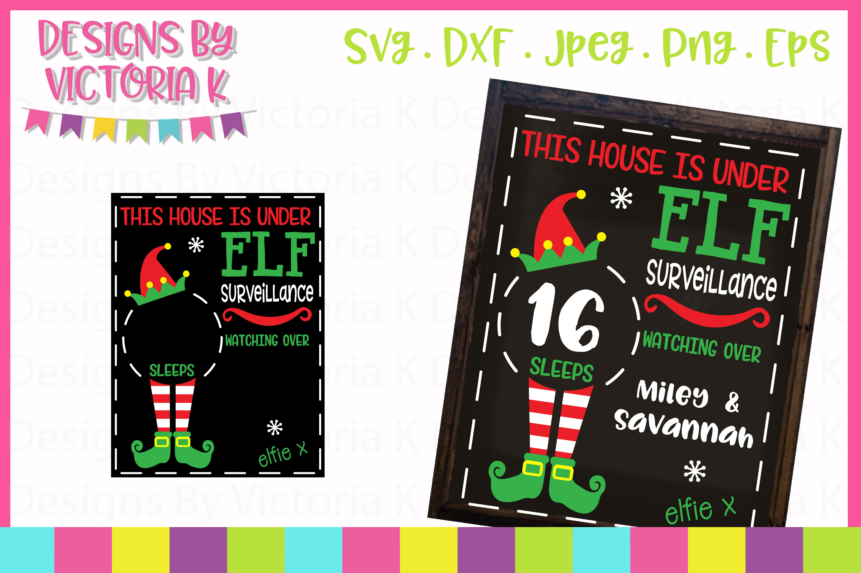 4 Christmas Countdown Chalkboard Designs, SVG, DXF, PNG example image 2