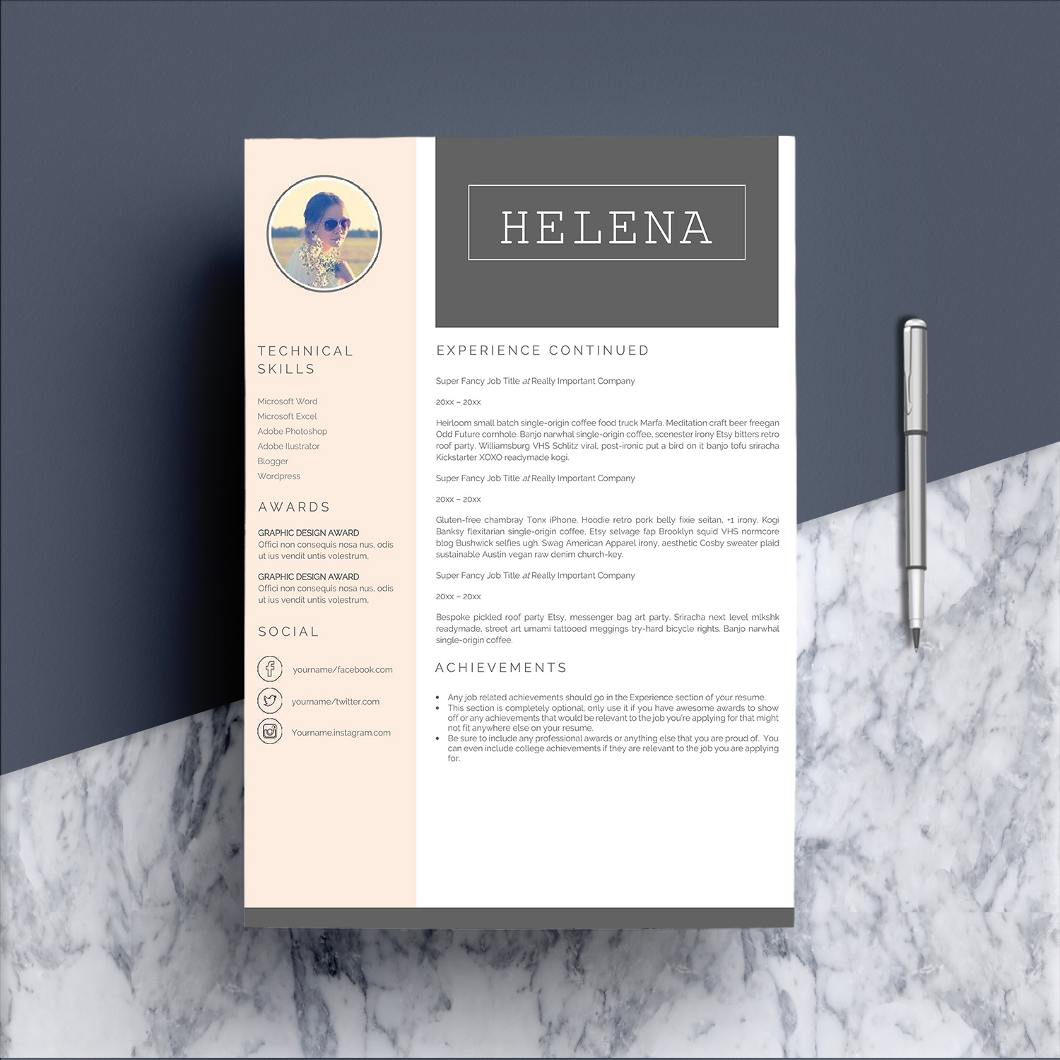 Professional Resume Template CV 4 Pages example image 3