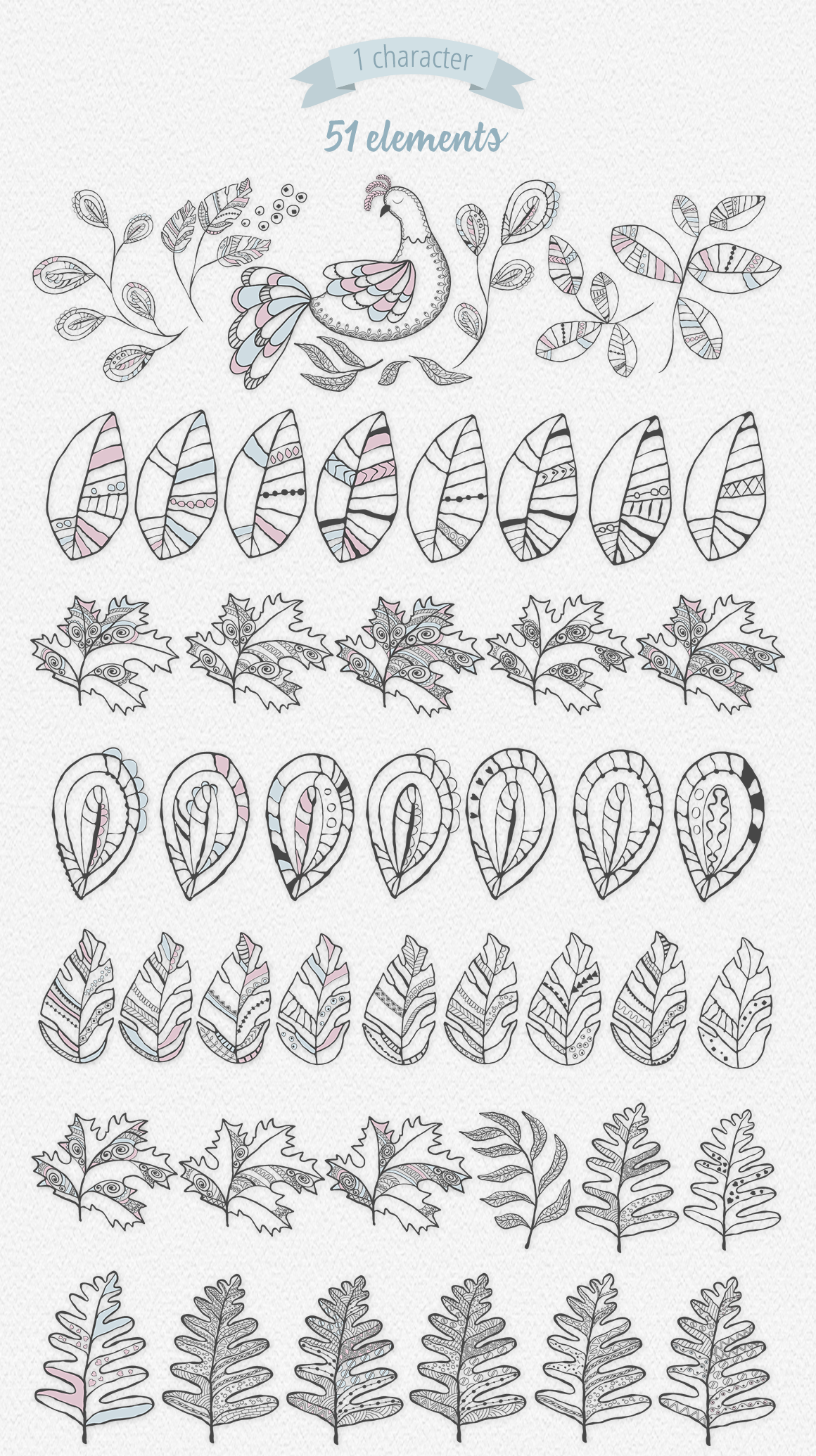 Boho Leaves Illustration Set example image 5