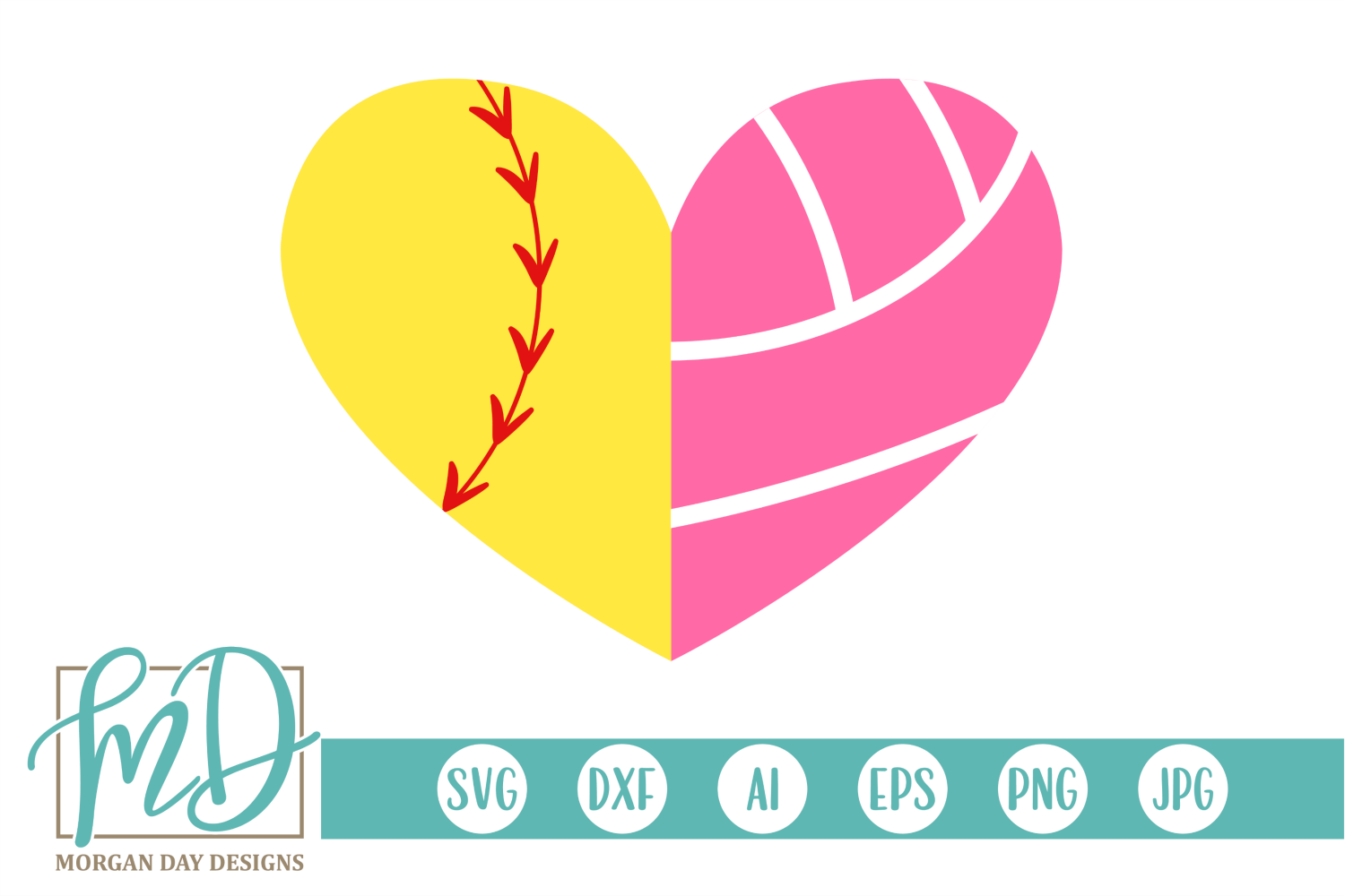 Softball Volleyball Heart SVG, DXF, AI, EPS, PNG, JPEG example image 1