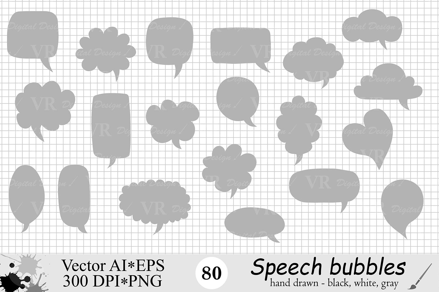 Speech Bubbles Clipart / Chat Bubbles / Hand drawn Text bubbles / Black, White, Gray - Vector example image 4